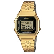 Casio LA680WEGA-1ER Ladies Gold Plated Digital Watch with Black Case & Black Dial