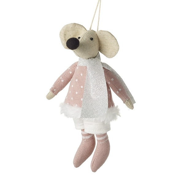 Hanging Grey Mouse In Pink Spotty Dress by Heaven Sends