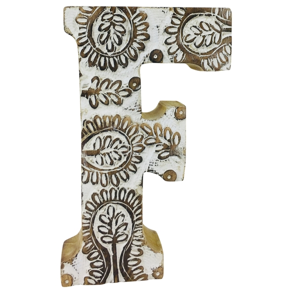 Letter F Hand Carved Wooden White Flower