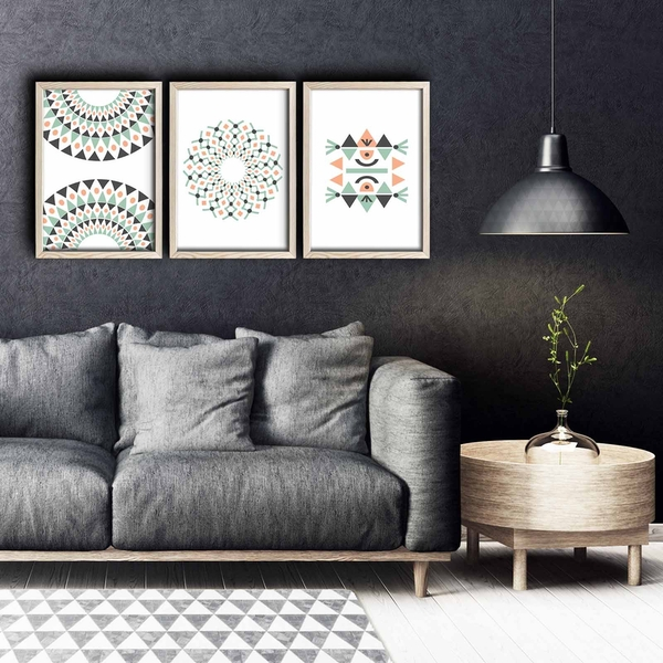 3PKCT-006 Multicolor Decorative Framed MDF Painting (3 Pieces)