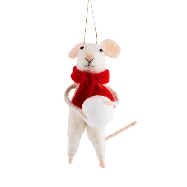 Sass & Belle Traditional Mouse with Snowball Hanging Decoration