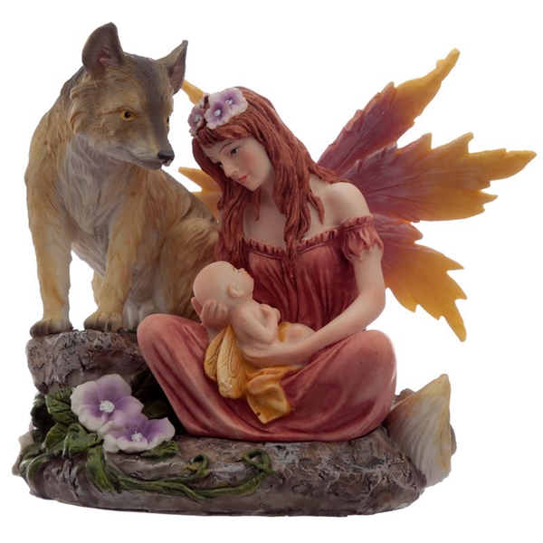 Autumn Flower Fairy with Baby and Wolf