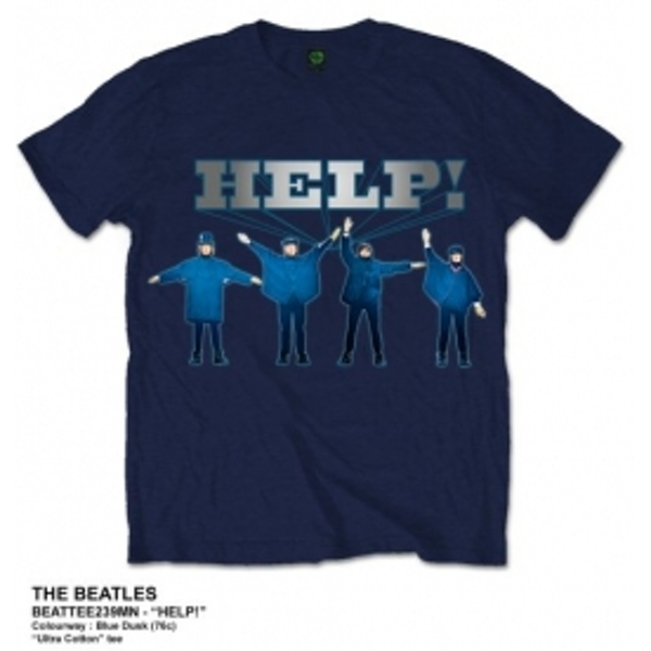 The Beatles Help Silver Logo Navy T Shirt: XXL