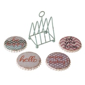 Sayings Coasters Set In Wire Rack By Heaven Sends