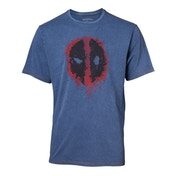 Deadpool - Graffiti Mask Faux Denim Men's Large - T-Shirt - Blue