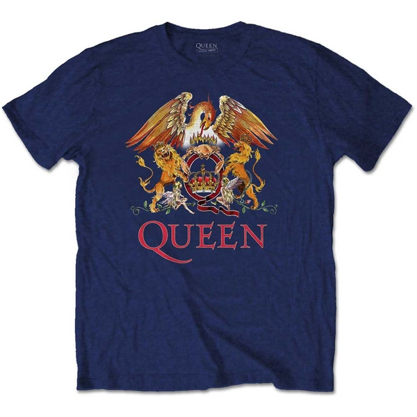 Queen - Classic Crest Men's X-Large T-Shirt - Navy Blue