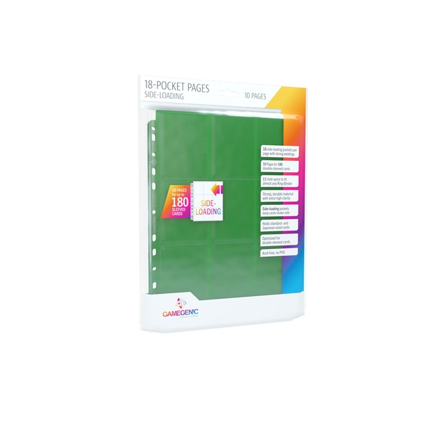 Gamegenic Sideloading 18-Pocket Pages 10 Sleeves -  Green
