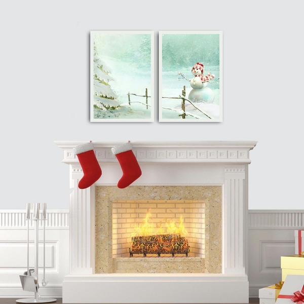 2PBCTNOEL-01 Multicolor Decorative Framed MDF Painting (2 Pieces)