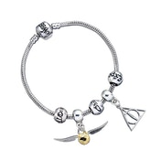 Harry Potter Charm Set- Silver Bracelet/Deathly Hallows/ Snitch/ 3 Spell Beads