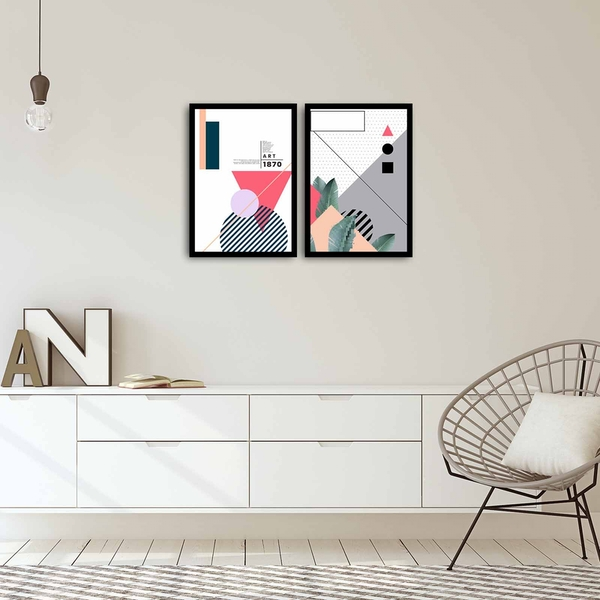 2PSCT-03 Multicolor Decorative Framed MDF Painting (2 Pieces)