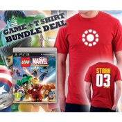 Lego Marvel Super Heroes Game + Iron Man Arc Reactor Double Sided Red T-Shirt Large PS3