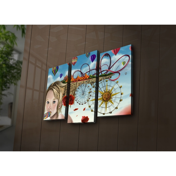3PAT?ACT-18 Multicolor Decorative Led Lighted Canvas Painting (3 Pieces)