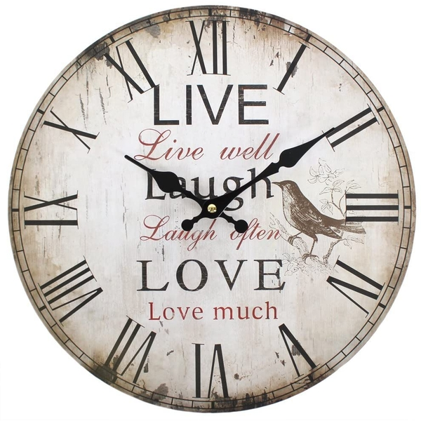 Rustic Effect Live Well, Laugh Often, Love Much Wall Clock