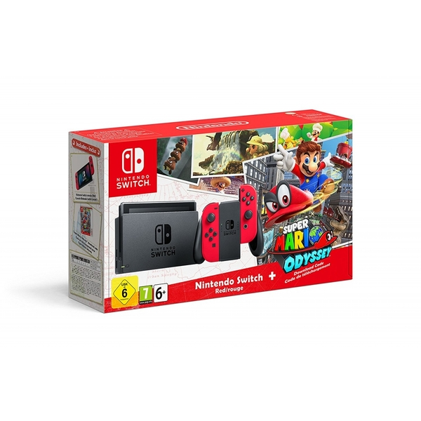 8bf9bc49d10c2 Stay with us... Nintendo Switch Console with Red Joy-Con Controllers + Super  Mario Odyssey