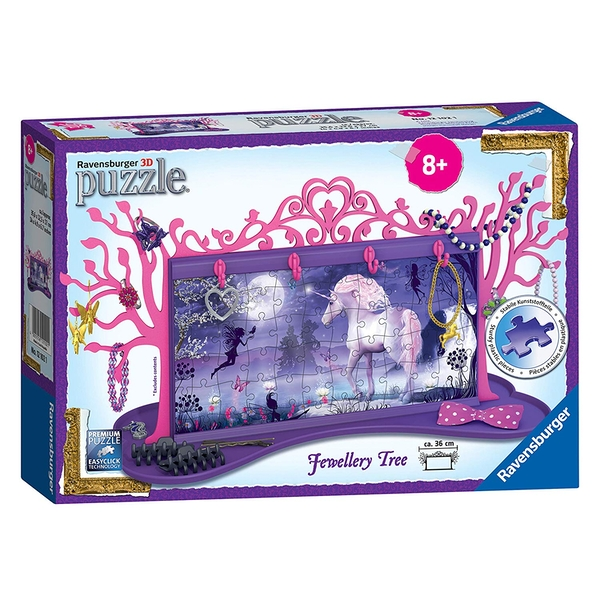 Ravensburger My 3D Boutique - Unicorns Jewellery Tree 3D 108 Piece Jigsaw Puzzle - Image 1