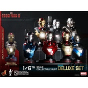 Hot Toys Iron Man 3 Deluxe Set Marvel Collectible Bust inc Battle Damaged Mk42