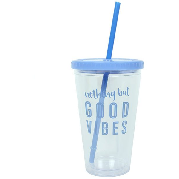 Good Vibes Drinking Cup with Straw