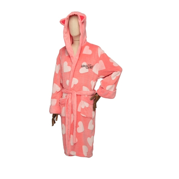 DC Comics Harley Quinn Birds of Prey Ladies Hooded Dressing Gown Robe Pink