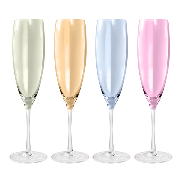 Pastel Assorted Glassware - Set of 4 | M&W Champagne Flute 320ml