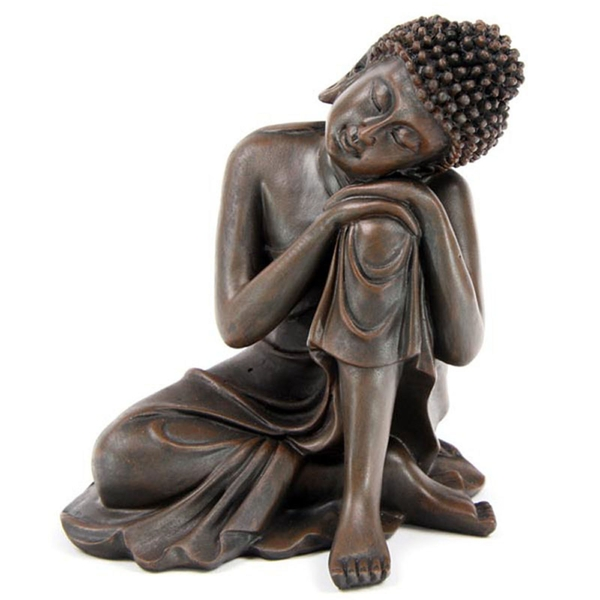 Decorative Wood Effect Thai Buddha with Head on Knee