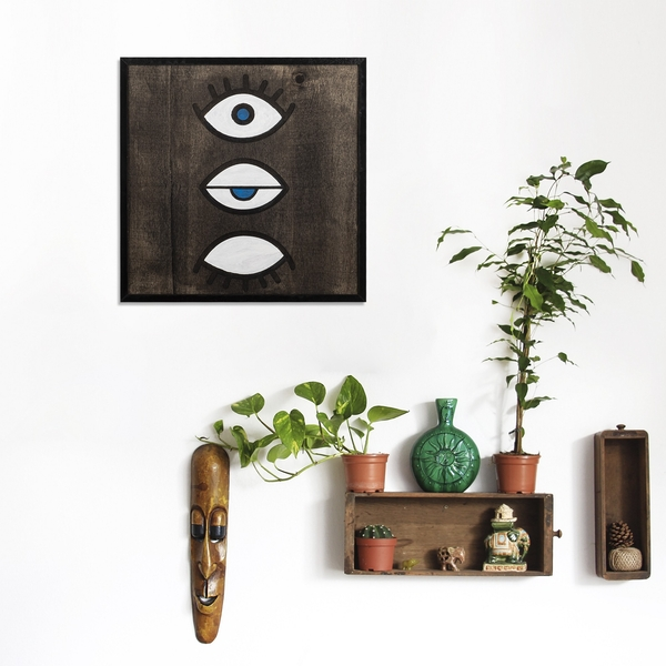 Eyes Black White Decorative Wooden Wall Accessory
