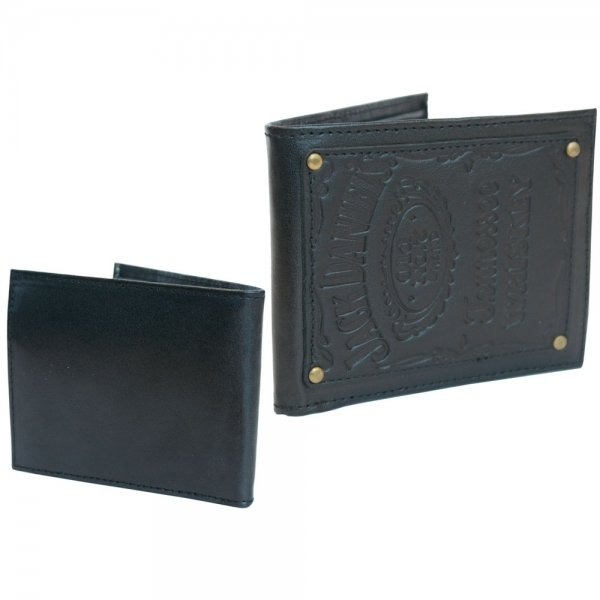 JACK DANIEL'S Bi-fold Leather Patch Wallet with Engraved Classic Logo, Black