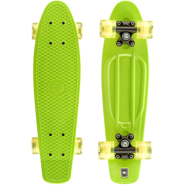 Xootz Kid's Complete Retro Plastic Skateboard with LED Light Up Wheels Yellow