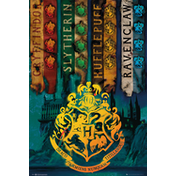 Harry Potter House Flags Maxi Poster
