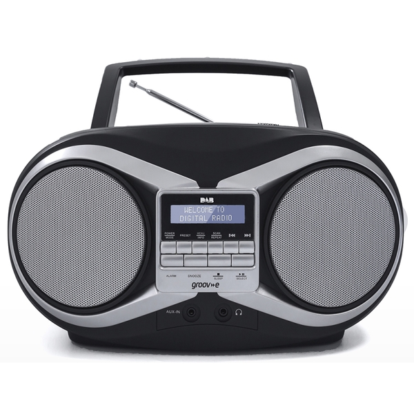 Groov-e GVPS753BK DAB Boombox Portable CD Player with DAB/FM Radio Black UK Plug