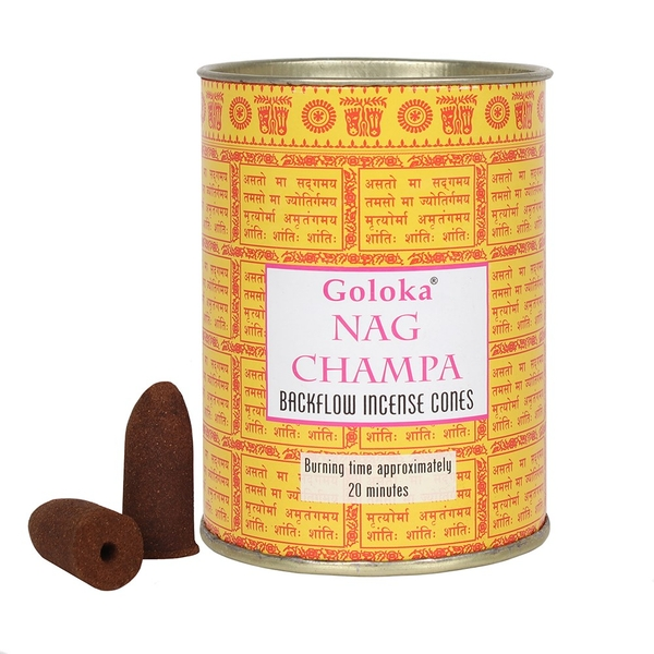 Goloka Nag Champa Incense Backflow Cones (Pack Of 12)