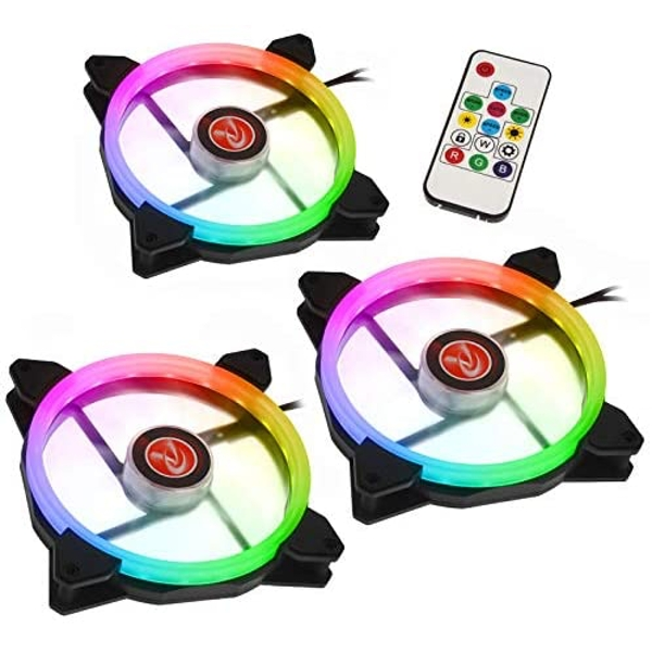 Raijintek IRIS 14 Rainbow RGB LED PWM 140mm Fan with Controller - Triple Pack