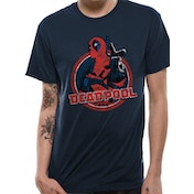 Deadpool - Logo Point Men's Small T-Shirt - Blue