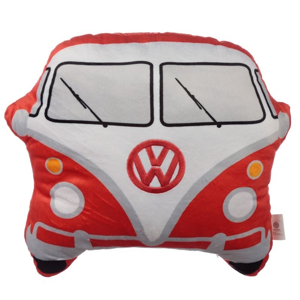 Plush Volkswagen VW T1 Camper Bus Shaped Red Cushion