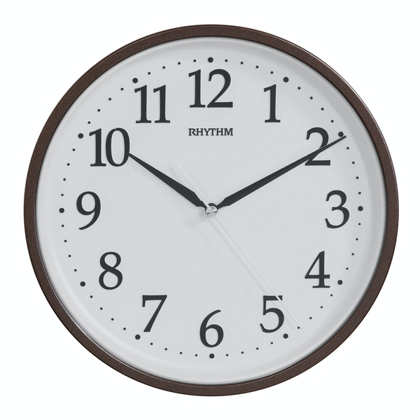 Rhythm Round Wall Clock with 3D Numbers - Black