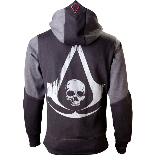 Assassin's Creed: Black Flag Men's Large Full Length Zipper Hoodie - Black/Grey