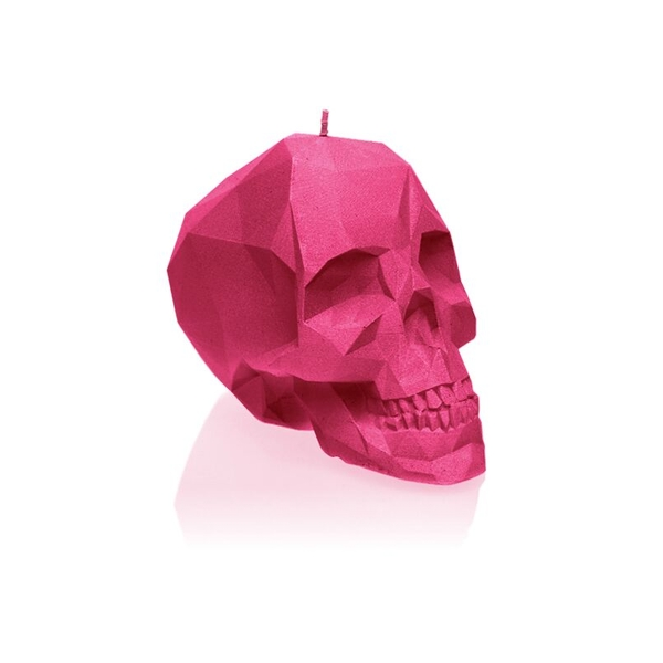 Dark Pink Large Low Poly Skull