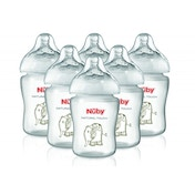 Nuby Natural Touch Decorated Baby Bottles (270 ml, Pack of 6)