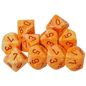 Chessex d10 Dice Set: Festive Sunburst/Red (10)