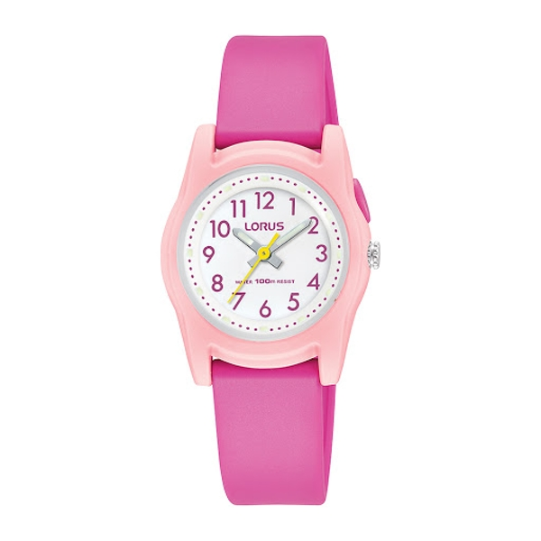 Lorus R2389MX9 Chidrens Analogue Watch - Bright Pink with White Dial