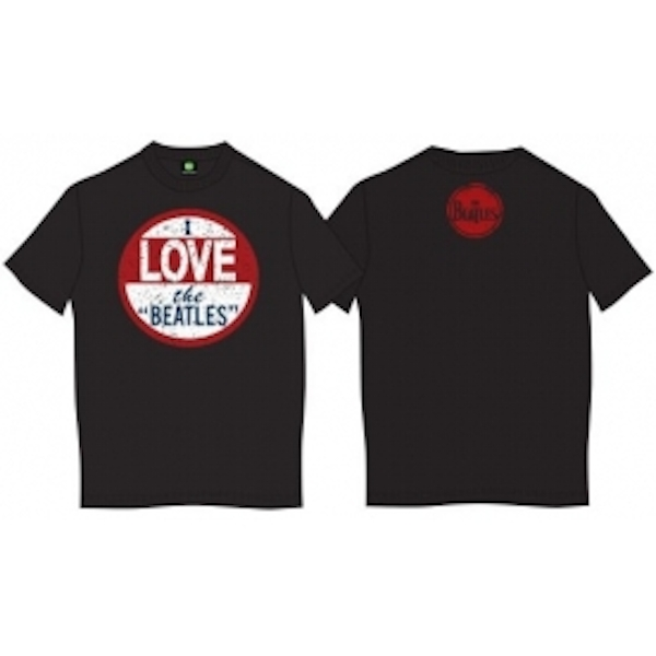 The Beatles I Love The Beatles Vintage Mens Blk TS: Small