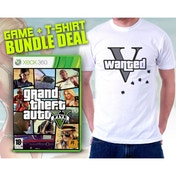 Grand Theft Auto GTA V (Five 5) (Atomic Blimp DLC) & Wanted V T-Shirt in Large Game Xbox 360