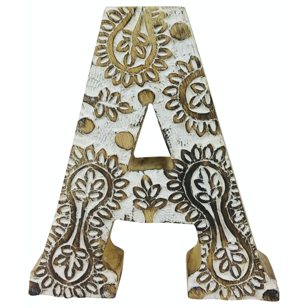 Letter A Hand Carved Wooden White Flower