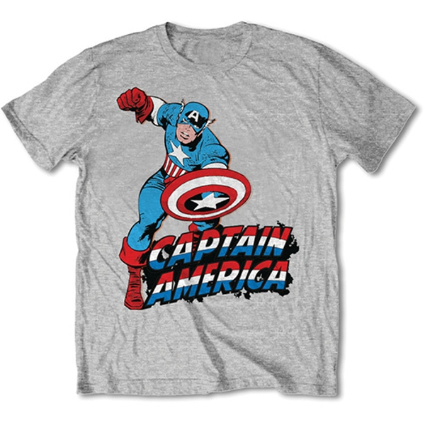 Marvel Comics - Simple Captain America Unisex Large T-Shirt - Grey