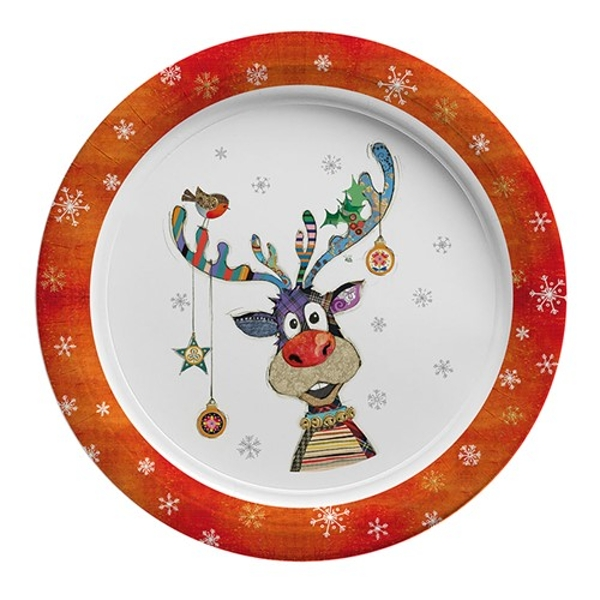 """Kooks Xmas Rudolph Baubles Party Plate 7"""""""