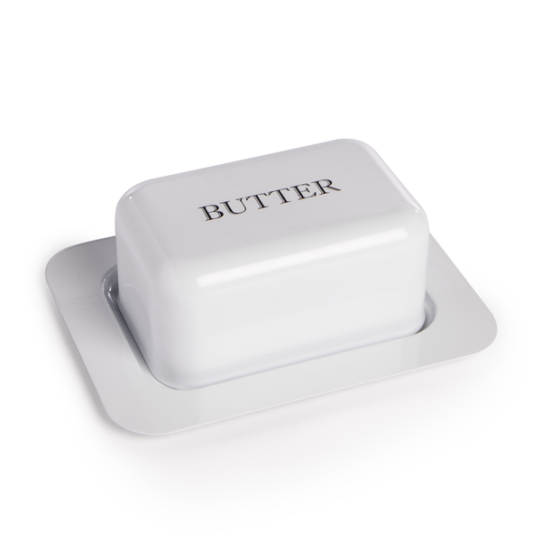 Butter Dish with Lid M&W White