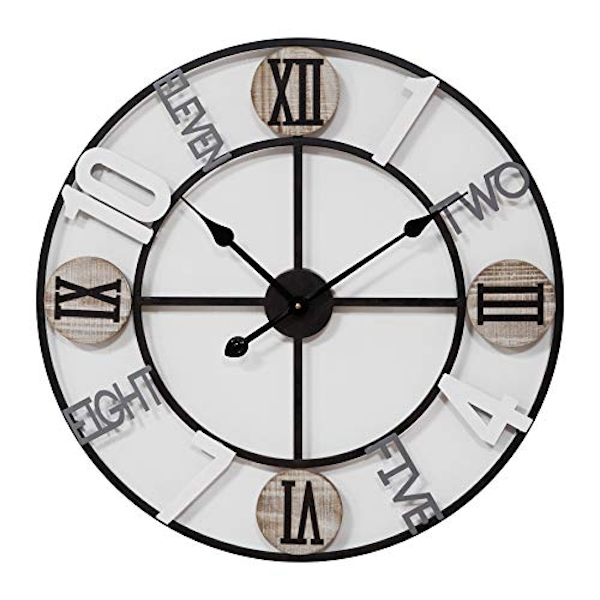 Hometime Cut Out Metal Wall Clock Mixed Dial 62.5cm