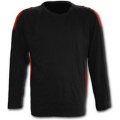MetalStreetwear Red Ripped Men's X-Large Long Sleeve T-Shirt - Black