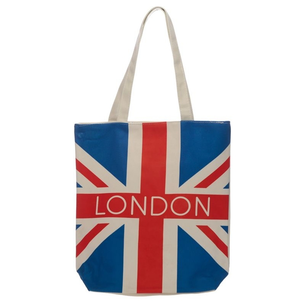 London Union Jack Flag Cotton Bag with Zip and Lining