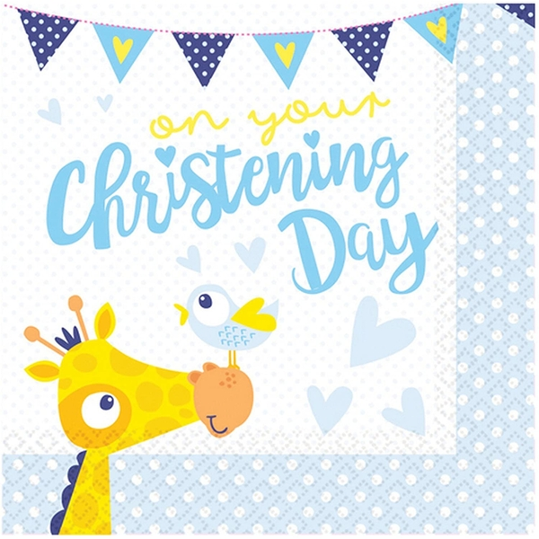 On Your Christening Day Napkins Blue (Pack Of 16)