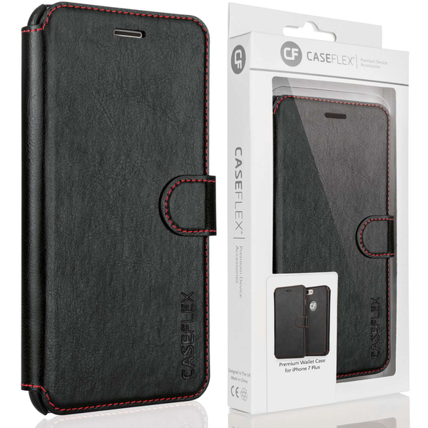 Caseflex iPhone 7 Plus PU Leather Wallet Case - Black/Red Lining (Retail Box)